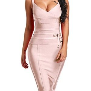 Dresses & Skirts - Women's V Neck Bandage Bodycon Dress